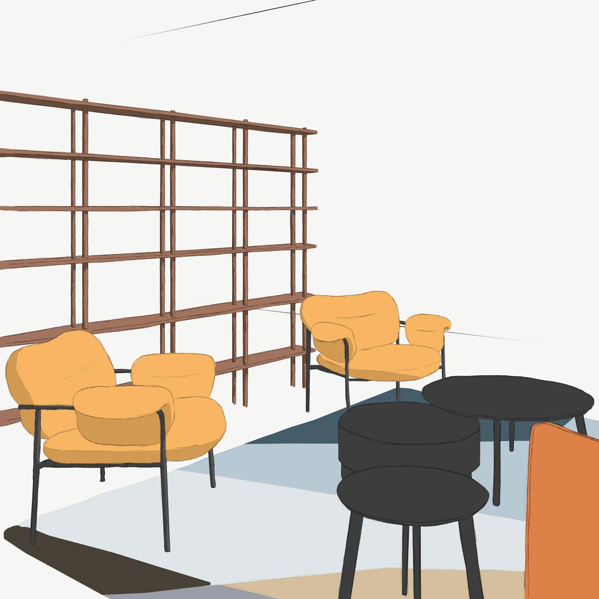 Hyllsystemet Bond från Fogia, golvmonterad som en bokhylla och rumsavdelare