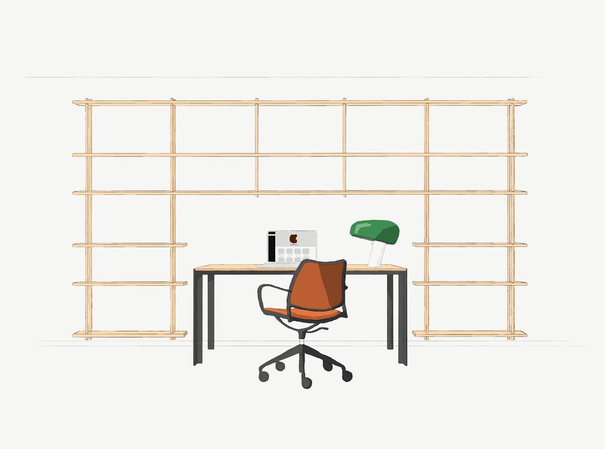 Fogia Bond med väggmontering över ett skrivbord