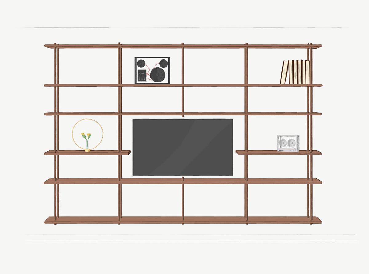 Väggmonterad Bond som bokhylla från Fogia, byggd runt en TV