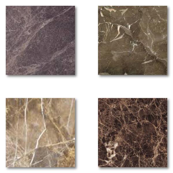 Se exemplet på hur naturmaterial som brun marmor kan variera i färgton
