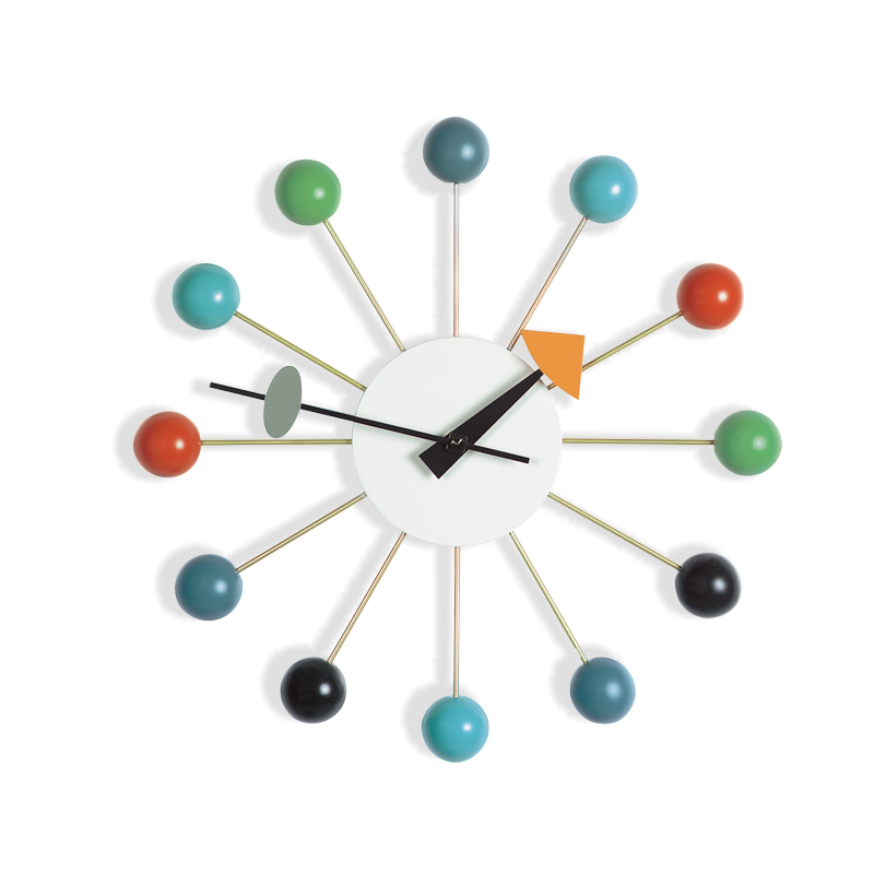 ball clock v ggklocka multicolor olsson gerthel. Black Bedroom Furniture Sets. Home Design Ideas