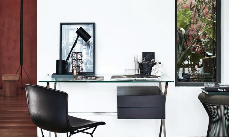Knoll Albini Desk Skrivbord i förkromat stål, glas och svartbetsad ek
