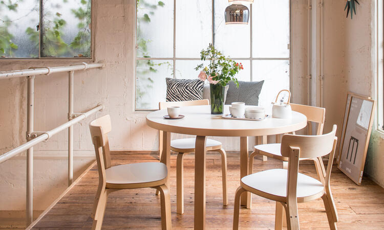 Artek Chair 69 Matstol Björk Vit laminat