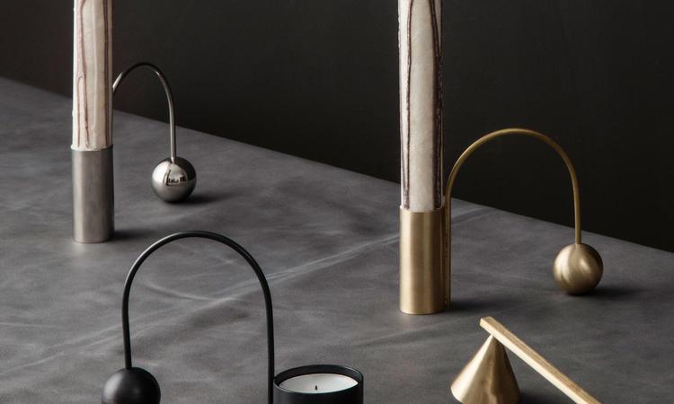 Ferm Living Balance Ljushållare i krom, svart och mässing