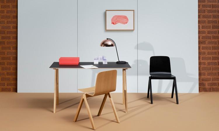 HAY Copenhague CPH90 Skrivbord i massiv ek och grå linoleum