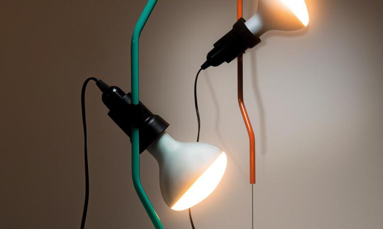 Flos Parentesi 50 Taklampa Golvlampa Turquoise Orange Signal