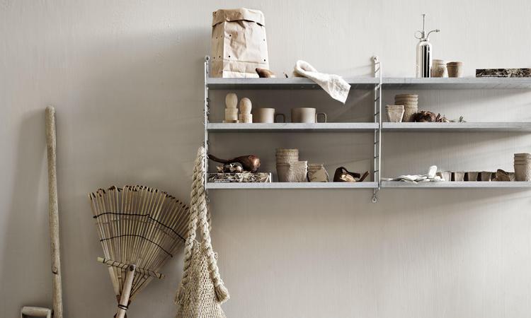 Galvaniserade väggavlar och hyllplan till Stringhylla