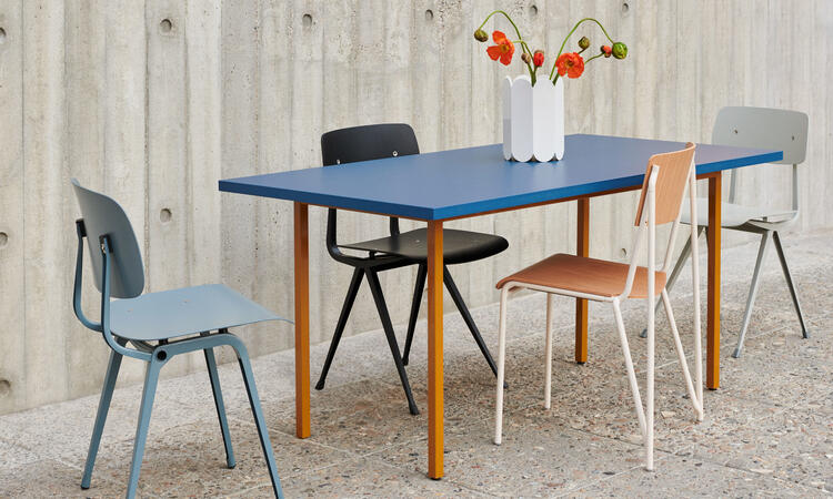 HAY Two-Colour Table 200x90 cm Ochre/Blue Water