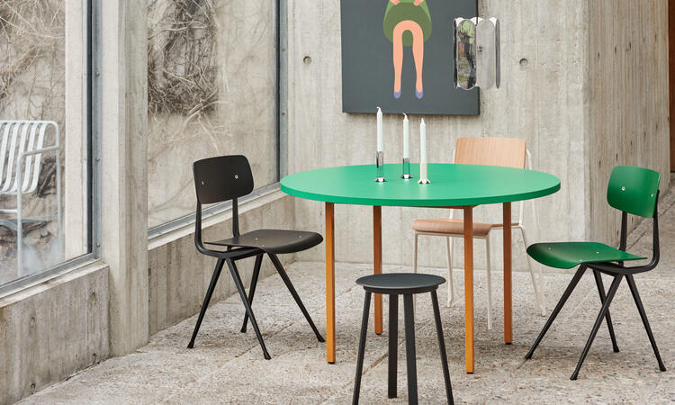 HAY Two-Colour Table Ø120 cm Ochre/Green Mint