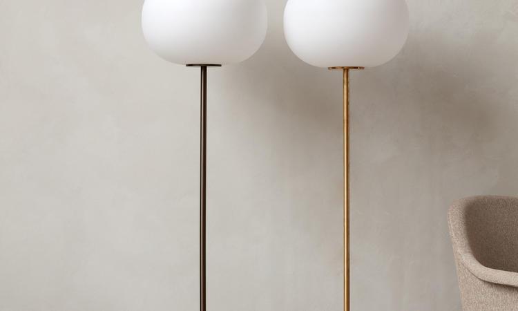 Menu JWDA Floor Lamp Golvlampa i marmor, travertin, mässing och opalglas