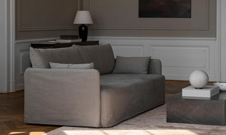 Menu Offset Loose Cover Sofa Poppy Seed