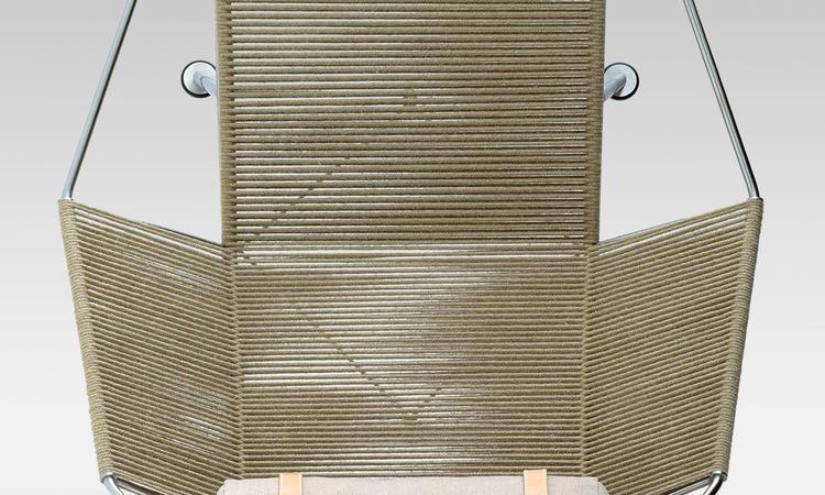 PP225 med kudde i tyg, vitlackerat underrede, naturfärgat rep