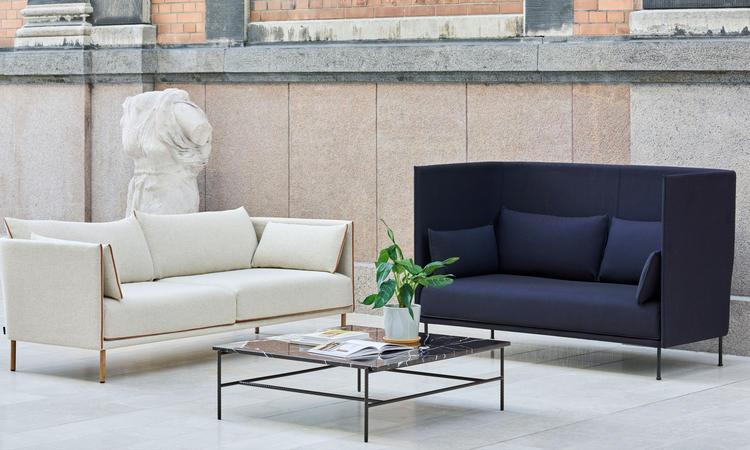 HAY Rebar Soffbord i svart marmor med ben i svart armeringsjärn