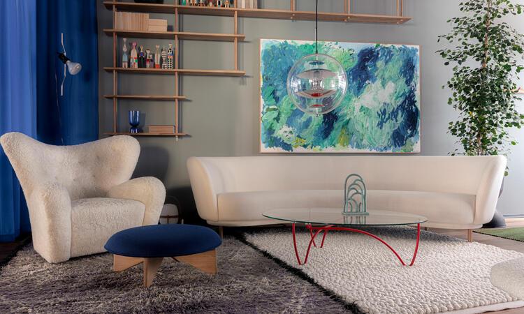 Ligne Roset Rythme Soffbord i glas och rödlackerat stål