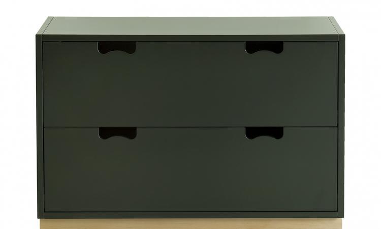 Utrustad med två rymliga lådor