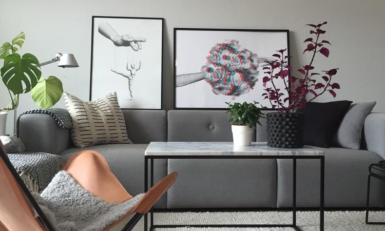 Fladdermusfåtöljen Trifolium i läder med svart underrede i hemmiljö