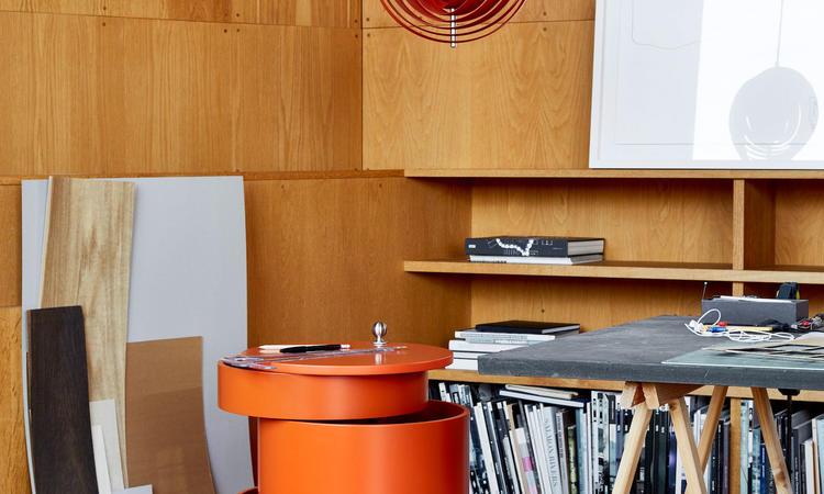 Verpan Barboy Rullbord i orange färg av Verner Panton