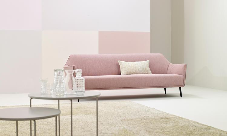 Adea Ell Soffa i rosa tyg med avtagbar klädsel