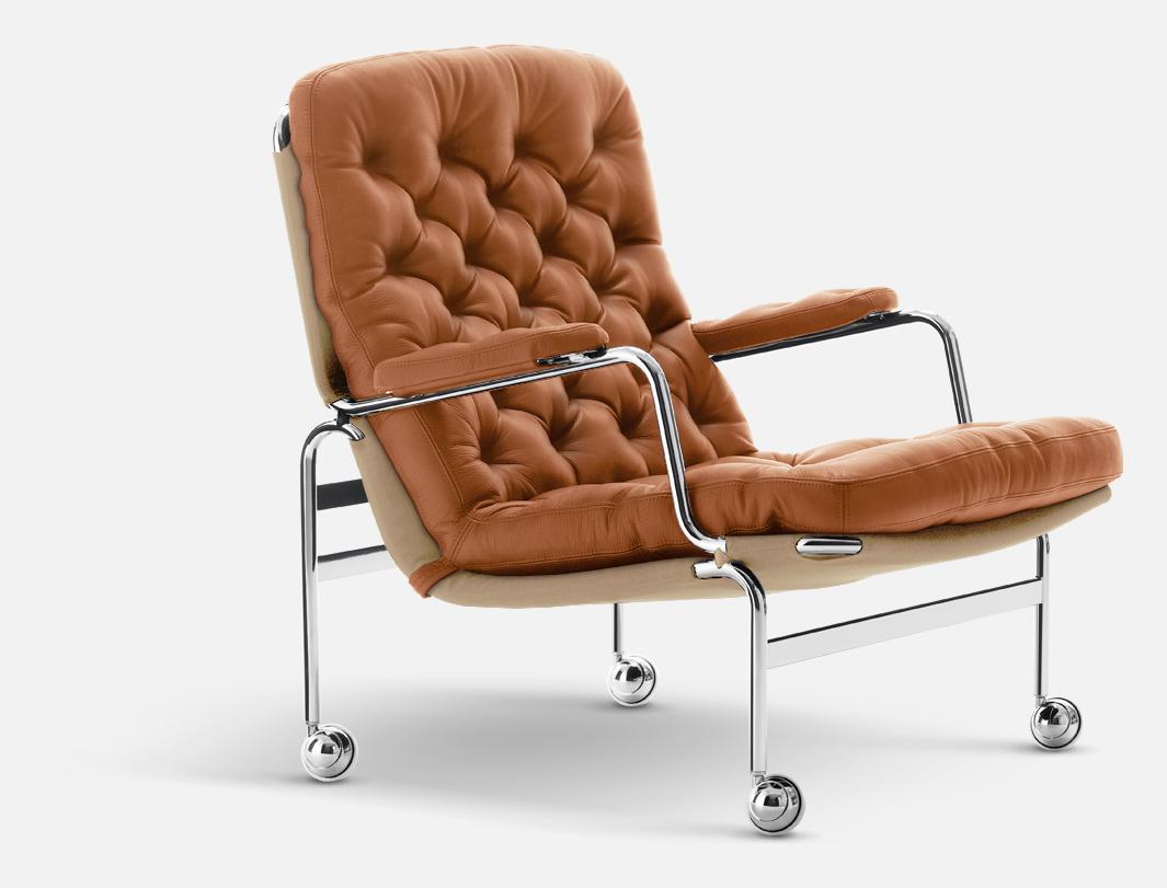DUX Karin 73 fåtölj svart läder | Livingroom | Möbler, Svart
