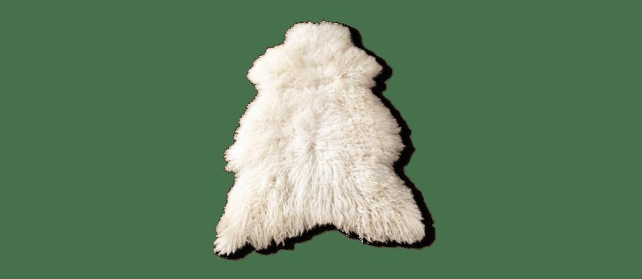 Karlsbergs Gård Lockigt fårskinn i vit färg