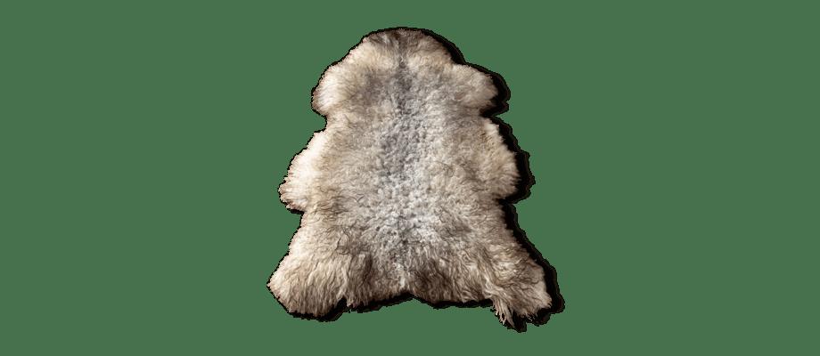 Karlsbergs Gård Långhårigt fårskinn i grått, vitt och brunt