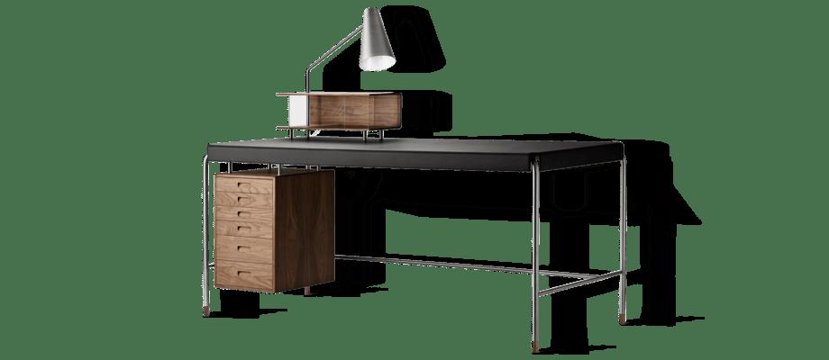 Carl Hansen AJ52 Society Table Skrivbord i valnöt och svart läder av Arne Jacobsen