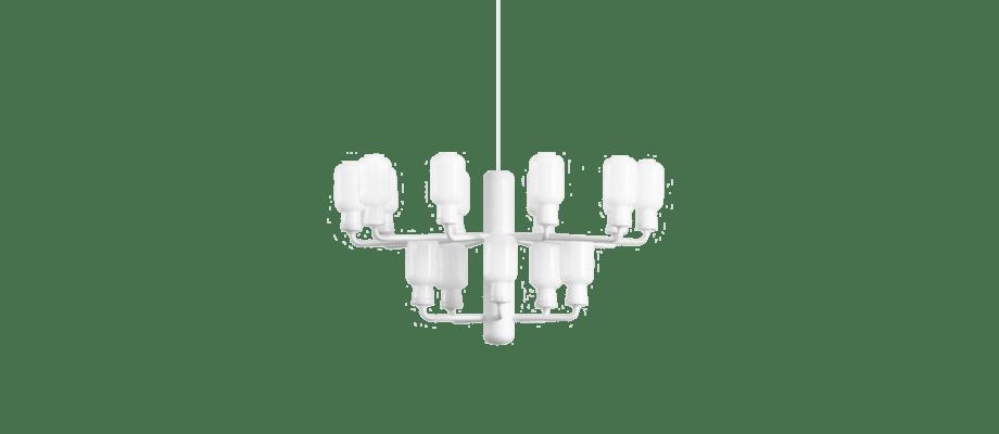 Normann Copenhagen Amp Chandelier Ljuskrona Vit med vitt opalglas