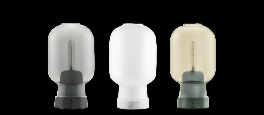 Köp bordslampan Amp Lamp från Normann Copenhagen i marmor med opalglas på Olsson & Gerthel