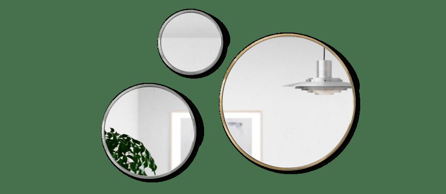 &tradition Sillon SH4, SH5, SH6 Speglar i krom och mässing med silverfärgat spegelglas
