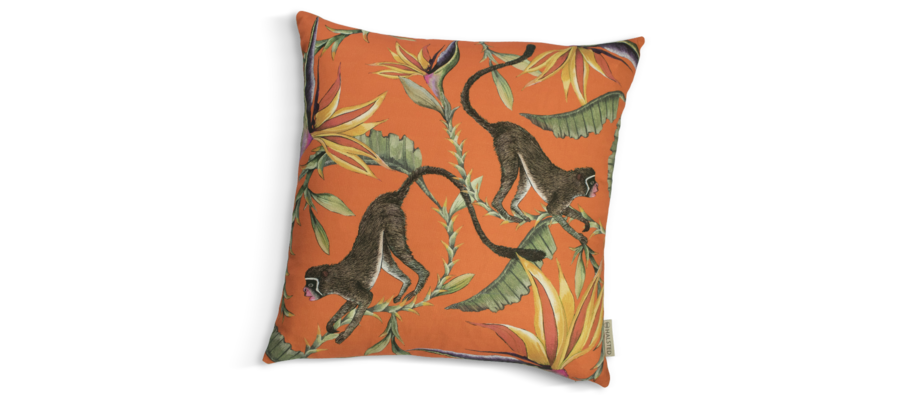 Ardmore Monkey Paradise Flame Kuddfodral med orange bas, apor och blommor