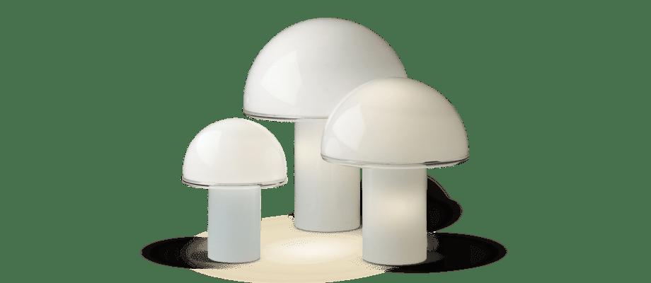 Artemide Onfale Piccolo, Medio och Grande Bordslampa i vitt opalglas