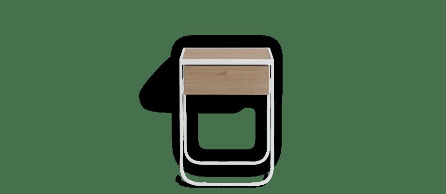 Asplund Nati Tati Drawer Byrå med låda i ek och ställning i vitlackerad metall