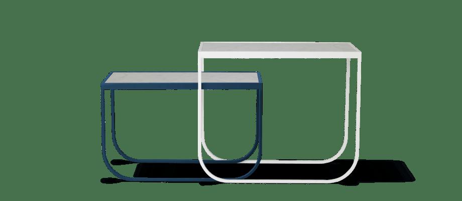 Asplund Tati Sidetable Square Soffbord i vit och blå med marmortopp