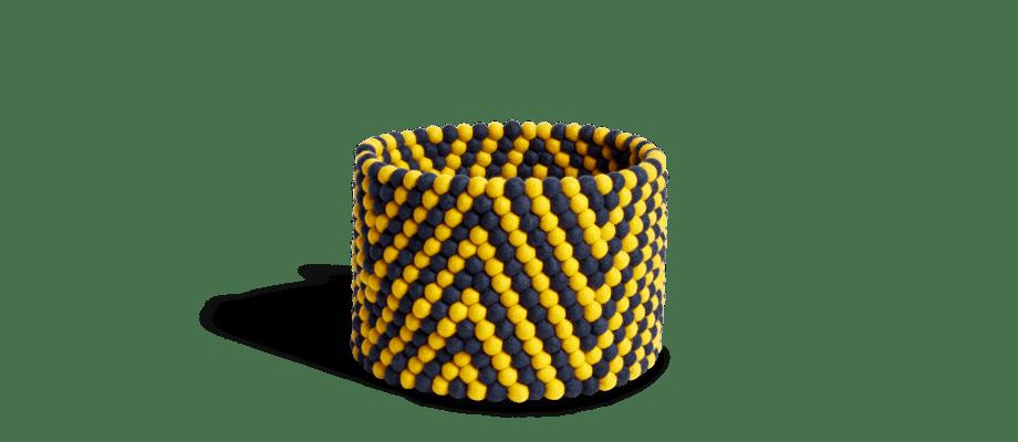 HAY Bead Basked Yellow Chevron i ull med mönster i gult och blått