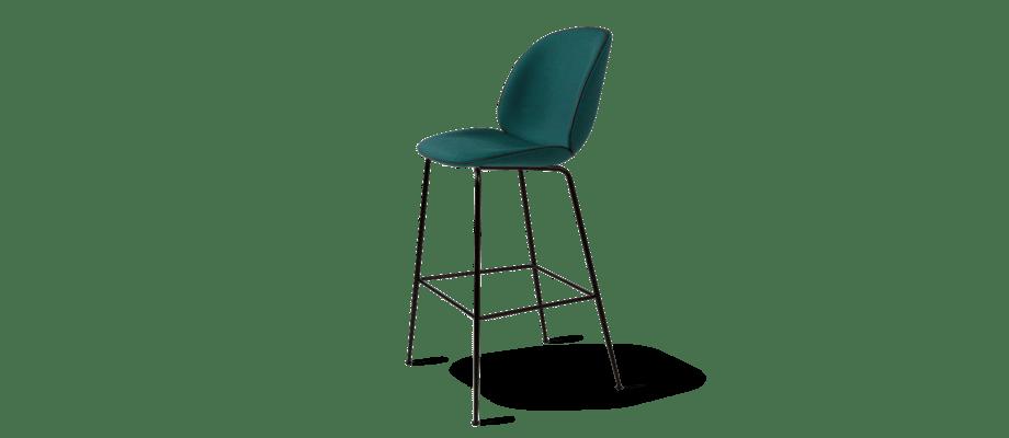 Gubi Beetle Counter Chair Barstol med tygklädd sits och svartlackerade ben