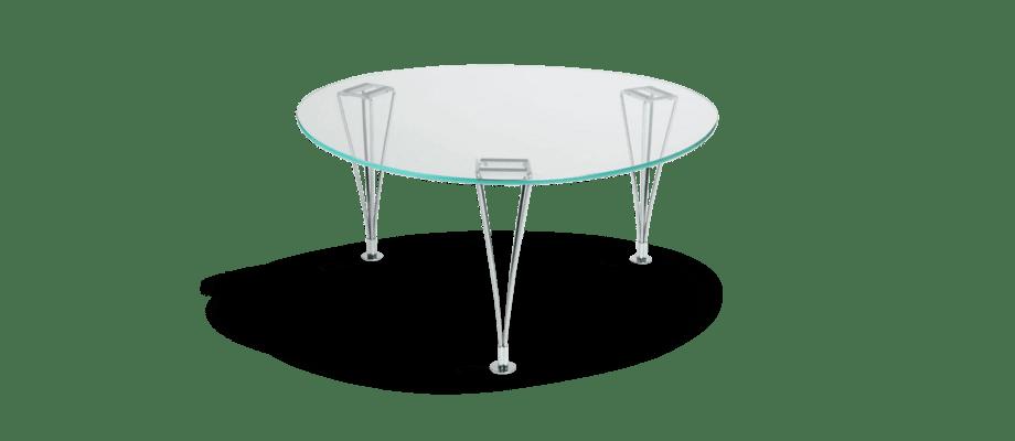 Bruno Mathsson Trisuperellips Soffbord i transparent glas och förkromat stål