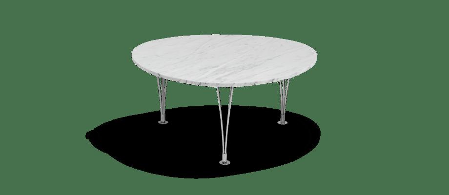 Bruno Mathsson Trisuperellips Soffbord i vit marmor och förkromat stål