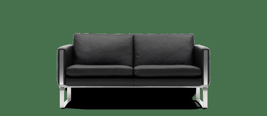 Carl Hansen & Søn CH102 Soffa i svart skinn med medar i rostfritt stål