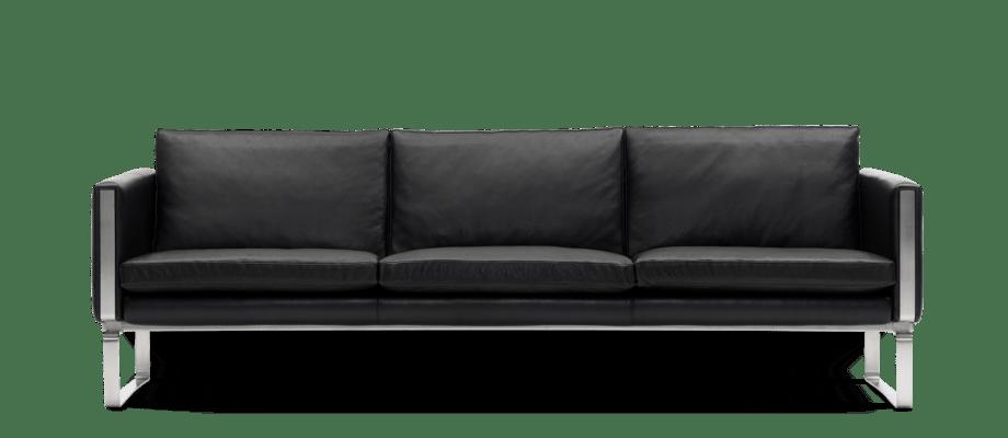 Carl Hansen & Søn CH103 Soffa med svart skinnklädsel och medar av rostfritt stål