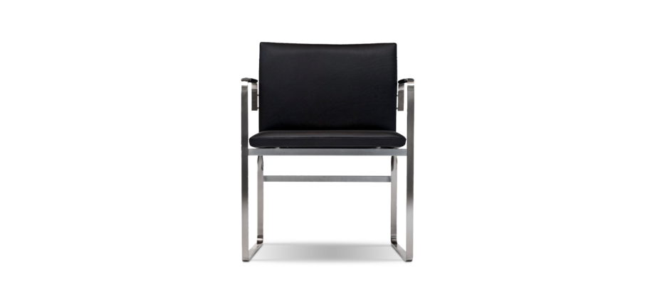 Carl Hansen & Søn CH111 Karmstol i rostfritt stål och läder