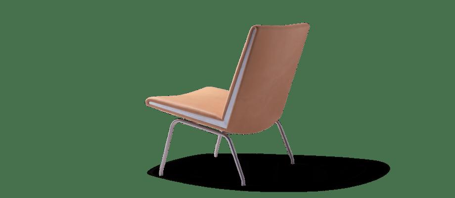 Carl Hansen & Søn CH401 Lounge Chair Fåtölj i naturligt läder och rostfritt stål