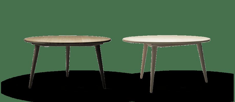 CH008 är ett klassiskt runt soffbord i ek eller bok av Wegner för Carl Hansen