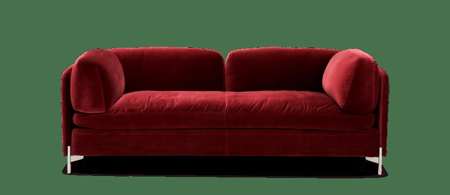 DUX Alicia Soffa i rött sammetstyg