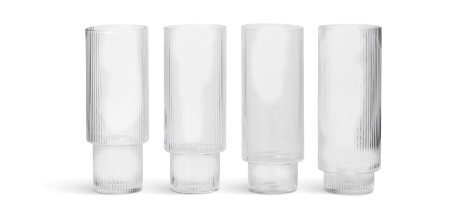 Ferm Living Ripple Longdrinkglas 4-pack