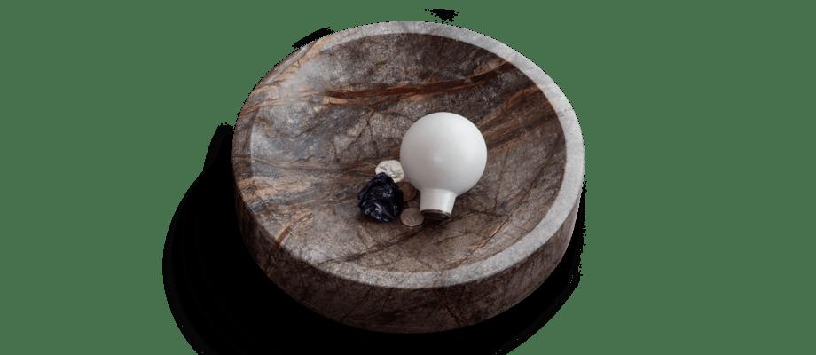 Ferm Living Scape Bowl Skål av brun marmor