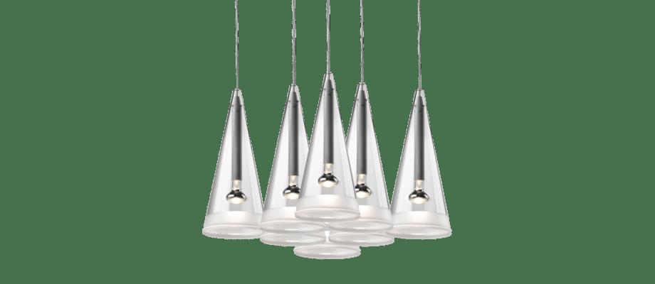 Flos Fucsia 8 Pendel med åtta lampor i glas