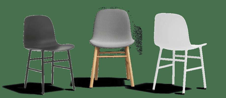 Form är en modern stol från Normann Copenhagen med eller utan klädsel i hundratals färger