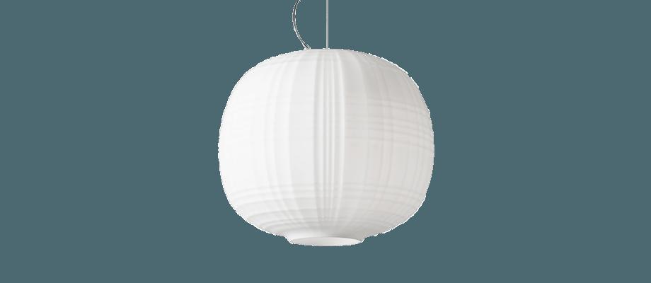 Foscarinis taklampa Tartan i vitt opalglas med design av Ludovica & Roberto Palomba
