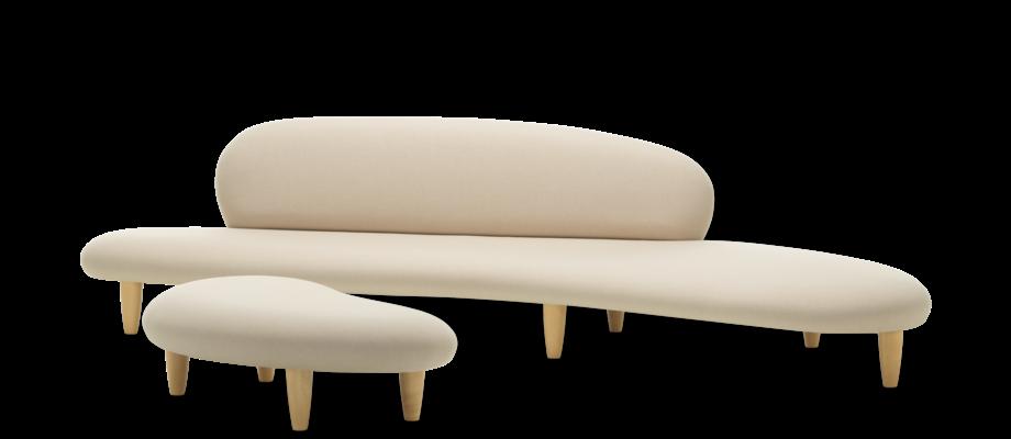 Vitra Freeform Soffa och ottoman i tyget Soft 13 Ivory med ben i lönn