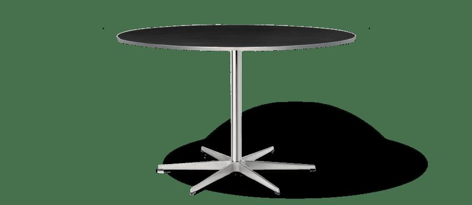 Fritz Hansen A825 Matbord i svart laminat med underrede i satinpolerad aluminium och förkromat stål